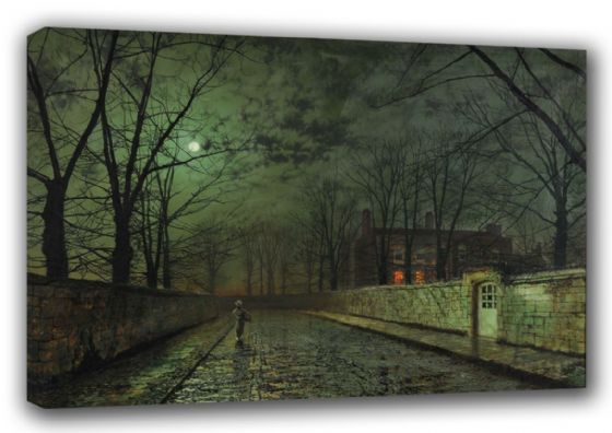 Grimshaw, John Atkinson: Silver Moonlight. Fine Art Canvas. Sizes: A3/A2/A1. (003230)